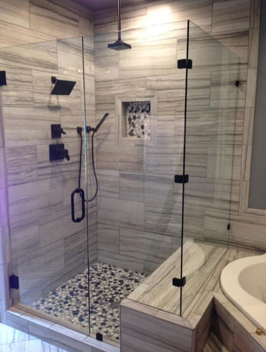 Shower stall with glass walls
